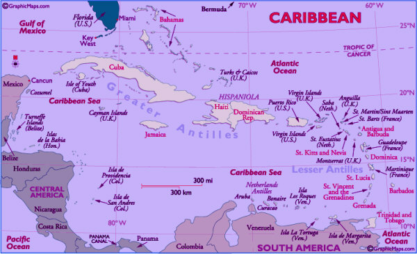 Caribbean Map showing all the major countries in the Caribbean
